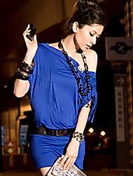 Женская мода наклонных плеч платье мини