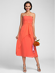 Lanting Bride Tea-length Chiffon Bridesmaid Dress A-line Strapless Plus Size / Petite with Draping / Ruffles