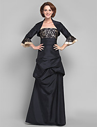 A-line Plus Sizes Mother of the Bride Dress - Black Floor-length 3/4 Length Sleeve Taffeta/Lace