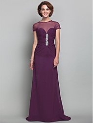 Dress Sheath / Column Jewel Sweep / Brush Train Chiffon / Tulle with Beading / Side Draping