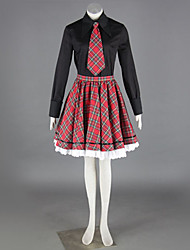 Schwarzes Hemd Red Check Pattern Rock School Girl Uniform