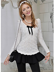 Women's Print White Blouse/Shirt Long Sleeve Ruched/Bow