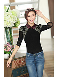 JANE FANS Elegant Big Size Lapel Long Sleeve Cut Out Lace Tops(Random Pattern)