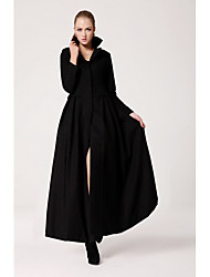 Women's Simplicity Slim Cut Swing Lapel Collar Coat