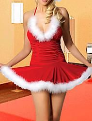 Branco guarnição da pele de veludo vermelho vestido das mulheres Christmas Costume