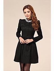 Women's Lace Embroidery Rhinestone Collar Slim Waist Mini Dress With Necklace