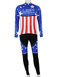 Kooplus2013 Campeonato Jersey América poliéster e Lycra e tecido elástico Ciclismo Suits (camisa + Bib-calças)