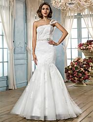 Lan Ting Trumpet/Mermaid Plus Sizes Wedding Dress - Ivory Sweep/Brush Train One Shoulder Tulle/Lace