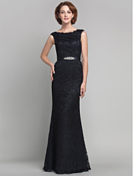 Lanting Bride® Sheath / Column Plus Size / Petite Mother of the Bride Dress Floor-length Sleeveless Lace with Beading / Lace