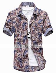 Impresión de la camisa de manga corta floral para hombres (5)