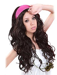 Capless High Quality Synthetic Fashion Long Curly Black Hair Wigs