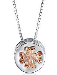 Wunderschöne Sterling Silber mit Citrin Damen Halskette