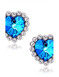 Stud Earrings Sapphire Gemstone Simulated Diamond Alloy Heart Star Blue Jewelry Daily