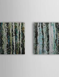 Dipinti a mano olio su tela astratta con telaio allungato Foresta Set di 2 1309-AB1018