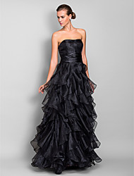 A-Line Sweetheart Floor Length Organza Prom Formal Evening Military Ball Dress with Ruching Cascading Ruffles by TS Couture®