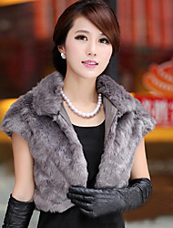 Short Sleeve Turndown Faux Fur Party/Casual Jacket(More Colors)
