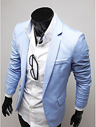 Light Blue Casual couleur unie LANGDENG hommes Tailored Outwear