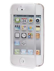 Clamshell Designet TPU Soft Full Body Case med Gennemsigtig Cover til iPhone 4/4S (assorterede farver)