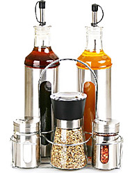 Kichen Spice Cruet Set with Rack (2pcs 500ML Oil& Vinegar Dispensers, 2pcs 100ML Salt&Pepper Shaker, 180ML Pepper Mill, Rack)