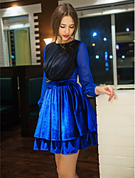 TS Crew Neck Pleated/Layered/Ruched Dress , Chiffon/Polyester Above Knee Long Sleeve