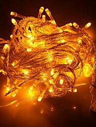 100 LED 10M do feriado do Natal Decoração Luz Amarela Luz LED Corda