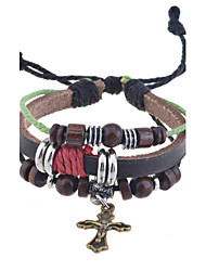 Vintage Cross Charm Leather Bracelet
