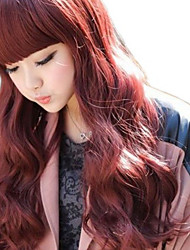 Wine Red Full Bangs Long Curly Sweet Lolita Wig