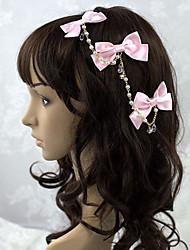 Handmade laços de cetim rosa cadeia Headpiece Sweet Lolita