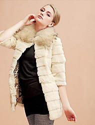 Pretty 3/4 Sleeve Pillow Rabbit Fur Party/Casual Coat