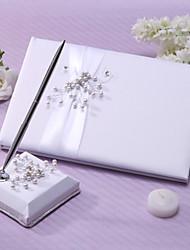 Chic Wedding Guest Book And Pen Set de perles et de Sash