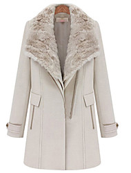 Women's Coats & Jackets , Polyester/Wool Casual/Work Color Party
