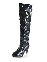Calçados Femininos - Botas - Plataforma / Botas da Moda - Salto Grosso - Preto / Vermelho / Branco - Couro Envernizado - Social