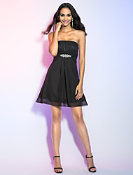 A-Line Princess Strapless Short / Mini Chiffon Cocktail Party Homecoming Holiday Dress with Crystal Detailing Side Draping by TS Couture®