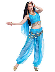 Belly Dance Outfits Women's Performance Chiffon Beading Coins Sequins 4 Pieces Sleeveless Top Pants Hip Scarf Headpieces