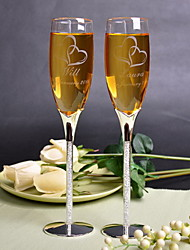 Personalized Toasting Flutes With Rhinestone Stem - Set of 2