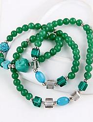 27cm Emerald Green Crystal Gemstone Beaded Smiley Buddha Like God Multilayer Bracelet B315