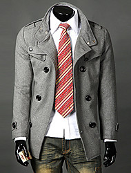 LANGDENG Men's Gray Double Breast Lapel Tailored Jacket