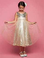 LAN TING BRIDE A-line Princess Tea-length Flower Girl Dress - Tulle Jewel with Sequins Ruching