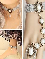 Handmade White Pearls Light Gray Lace Sweet Lolita Accessories Set