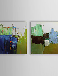 Hand Painted Oil Painting Abstract Green House with Stretched Frame Set of 2 1310-AB1210
