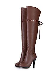 Camel Pu pelle tacco a spillo di Medd donne stivali sopra il ginocchio (11cm)
