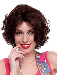 Capless High Quality Synthetic Dark Brown Curly Hair Wigs