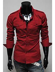 Shangdu spalla di modo Camicia Pad design a manica lunga (Red)