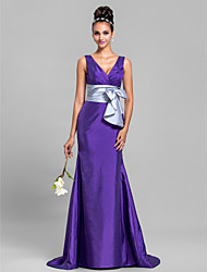 Mermaid / Trumpet V-neck Sweep / Brush Train Taffeta Bridesmaid Dress with Bow(s) Criss Cross Ruching by LAN TING BRIDE®