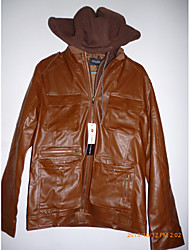 Brown PU capuche Midoo hommes secouer stand Collar Coat