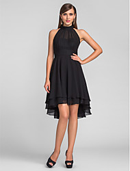 Cocktail Party/Wedding Party Dress - Black Plus Sizes A-line High Neck Asymmetrical Chiffon