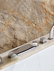 Sprinkle® Tub Faucets Waterfall / Widespread with Chrome Three Handles Five Holes