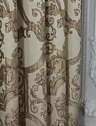 (Zwei Tafeln) michelle luxury® Rokoko-beige Blumen Polyester Energiesparvorhang