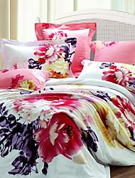 SIVENFY cópia floral refinado 4 Pcs Set: capa de edredon, colcha fronha * 2 (Padrão Pillocase aleatória) _S1199362