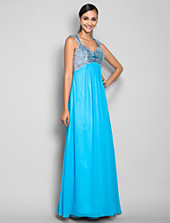 Sheath / Column Straps Sweep / Brush Train Chiffon Sequined Prom Dress withCrystal Detailing Flower(s) by TS Couture®